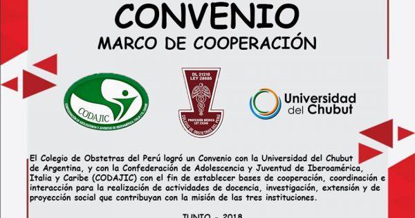 Convenio con la Universidad del Chubut de Argentina (UDC), y con la Confederación de Adolescencia y Juventud de Iberoamérica, Italia y Caribe (CODAJIC).