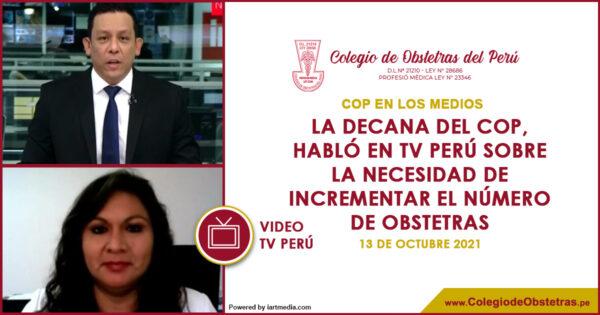 La decana del COP,  habló en TV Perú sobre la necesidad de incrementar el número de obstetras