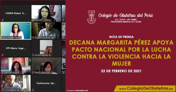 Decana Margarita Pérez apoya pacto nacional por la lucha contra la violencia hacia la mujer