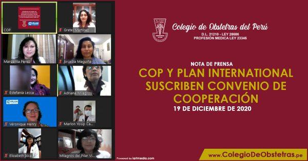 COP Y PLAN INTERNATIONAL SUSCRIBEN CONVENIO DE COOPERACIÓN
