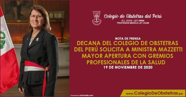 DECANA DEL COLEGIO DE OBSTETRAS DEL PERÚ SOLICITA A MINISTRA MAZZETTI MAYOR APERTURA CON GREMIOS PROFESIONALES DE LA SALUD