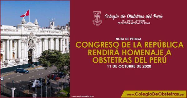 CONGRESO DE LA REPÚBLICA RENDIRÁ HOMENAJE A OBSTETRAS DEL PERÚ