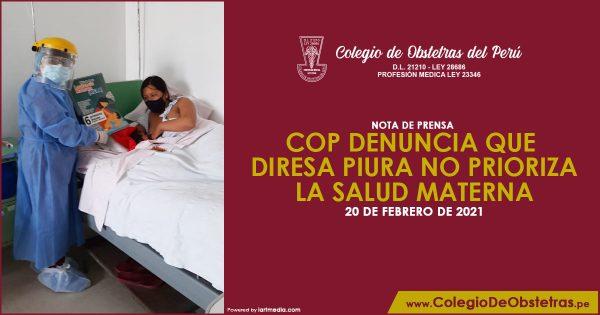 COP DENUNCIA QUE DIRESA PIURA NO PRIORIZA LA SALUD MATERNA