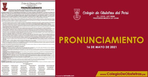 PRONUNCIAMIENTO 16 MAYO 2021