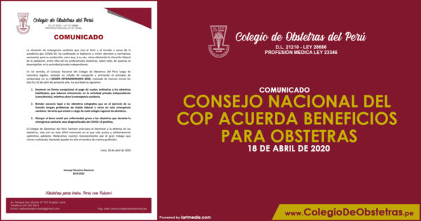 CONSEJO NACIONAL DEL COP ACUERDA BENEFICIOS PARA OBSTETRAS