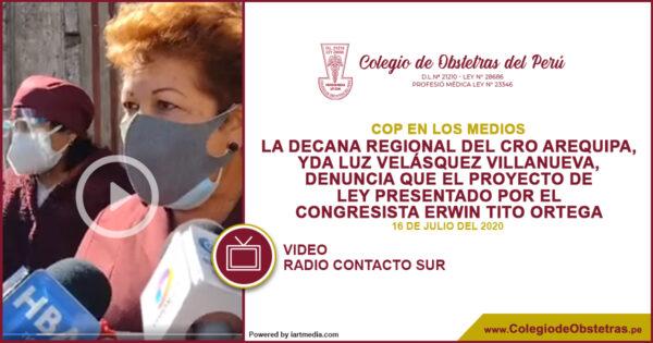La decana regional del CRO Arequipa, denuncia que el proyecto de ley no tiene sustento legal
