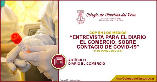 ENTREVISTA PARA EL DIARIO EL COMERCIO, SOBRE CONTAGIO DE COVID-19