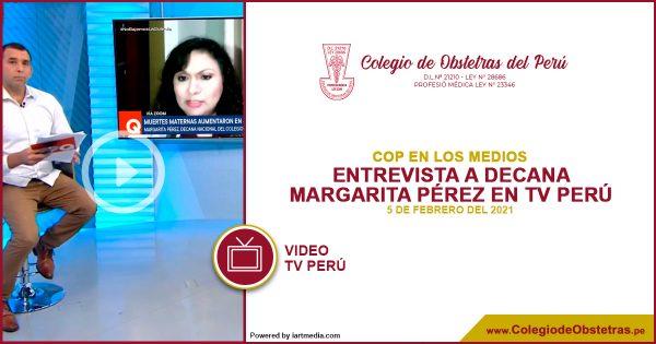 Entrevista a la decana del COP Margarita Pérez en TV Perú