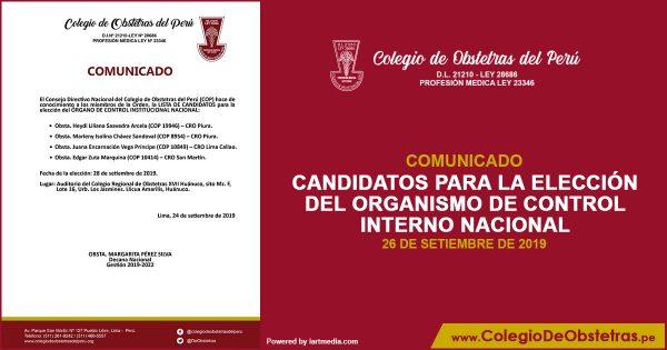 COMUNICADO No. 06-2019-CDN-COP. CANDIDATOS PARA LA ELECCIÓN DEL ORGANISMO DE CONTROL INTERNO NACIONAL