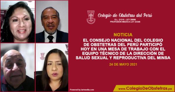El Consejo Nacional del Colegio de Obstetras del Perú participó hoy en una mesa de trabajo con el Equipo Técnico de la Dirección de Salud Sexual y Reproductiva del MINSA