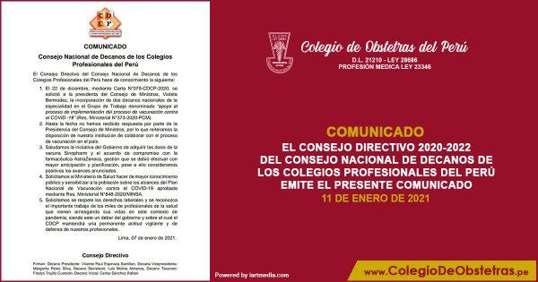 EL CONSEJO DIRECTIVO 2020_2022 DEL CONSEJO NACIONAL DE DECANOS DE LOS COLEGIOS PROFESIONALES DEL PERÚ EMITE EL PRESENTE COMUNICADO