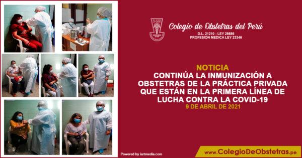 Inmunización a obstetras de la práctica privada contra la COVID-19 en la provincia de Chimbote
