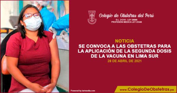 Aplicación de la segunda dosis de vacuna en Lima Sur