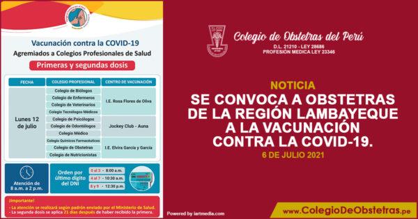 Se convoca a obstetras de la región Lambayeque a la vacunación contra la COVID-19