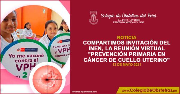 """Reunión virtual """"Prevención primaria en cáncer de cuello uterino"""""""