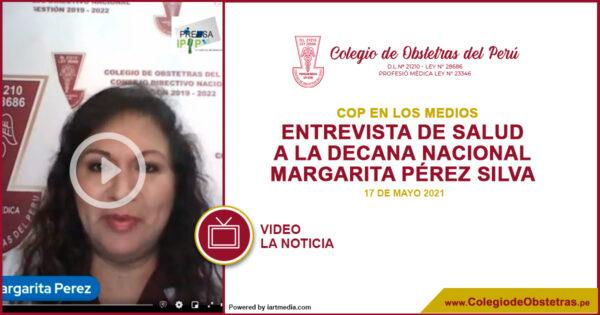 Decana nacional del COP, Margarita Pérez Silva, en diálogo con el periodista Giomar Castro