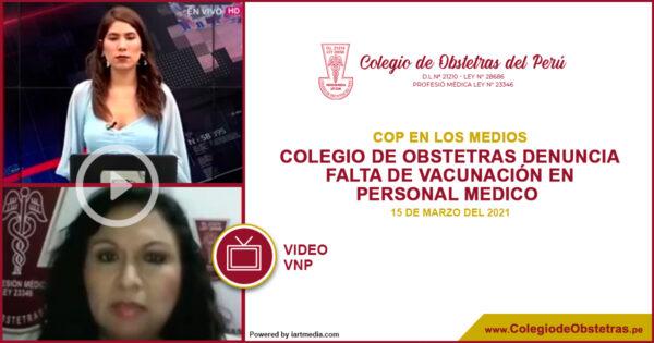 Colegio de Obstetras denuncia falta de vacunación en personal medico