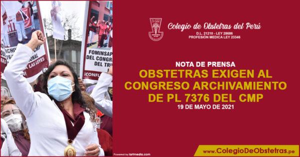 Obstetras exigen al Congreso archivamiento de PL 7376 del CMP