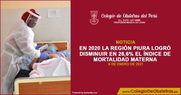 EN 2020 LA REGIÓN PIURA LOGRÓ DISMINUIR EN 26,6% EL ÍNDICE DE MORTALIDAD MATERNA
