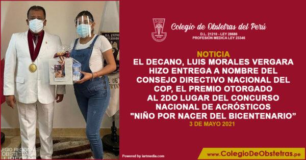 El decano del CRO La Libertad entregó el premio del segundo lugar del Concurso Nacional de Acróstico