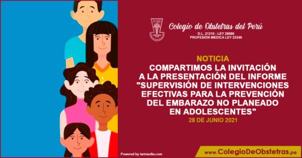 Presentación del informe «Supervisión de intervenciones efectivas para la prevención del embarazo no planeado en adolescentes»