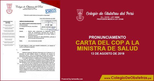 CARTA DEL COP A LA MINISTRA DE SALUD