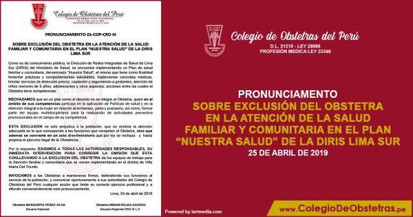 """SOBRE EXCLUSIÓN DEL OBSTETRA EN LA ATENCIÓN DE LA SALUD FAMILIAR Y COMUNITARIA EN EL PLAN """"NUESTRA SALUD"""" DE LA DIRIS LIMA SUR"""