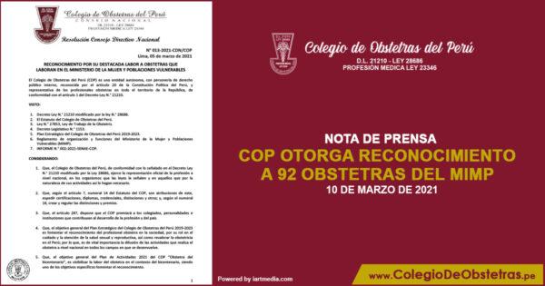 COP otorga reconocimiento a 92 obstetras del MIMP