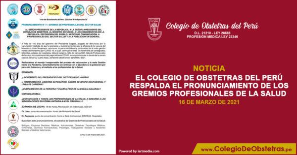 El Colegio de Obstetras del Perú respalda el pronunciamiento de los gremios profesionales de la salud