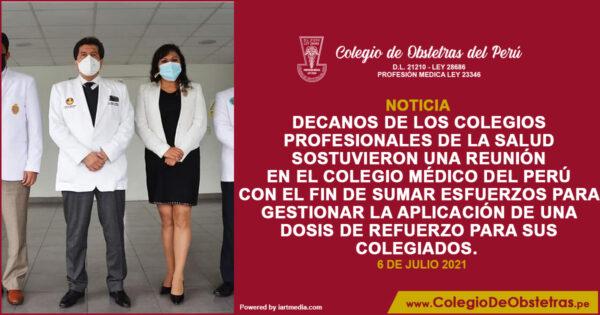 DECANOS DE LOS COLEGIOS PROFESIONALES DE LA SALUD SOSTUVIERON UNA REUNIÓN EN EL COLEGIO MÉDICO DEL PERÚ