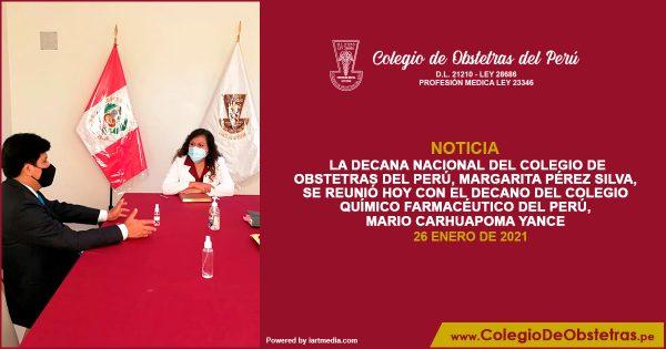 La decana nacional del Colegio de Obstetras del Perú se reunió hoy con el decano del Colegio Químico Farmacéutico