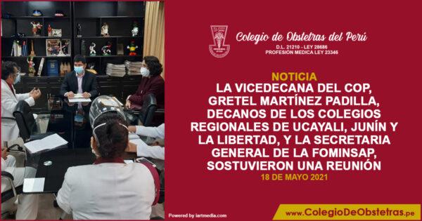 La vicedecana del COP, decanos de los colegios regionales de Ucayali, sostuvieron una reunión con el congresista Freddy Llaulli Romero