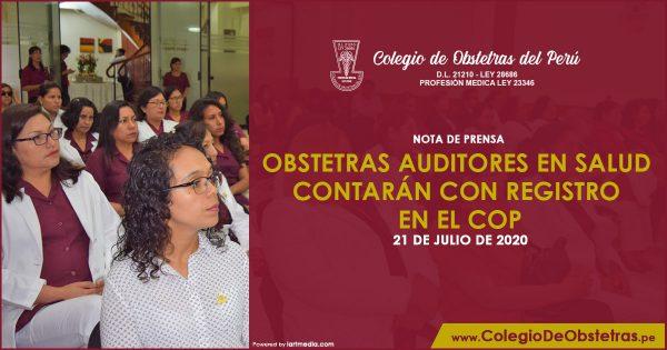OBSTETRAS AUDITORES EN SALUD CONTARÁN CON REGISTRO EN EL COP
