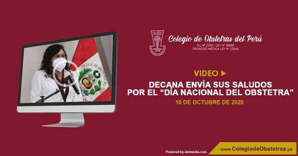 """VIDEO: DECANA ENVÍA SUS SALUDOS POR EL """"DÍA NACIONAL DEL OBSTETRA"""""""