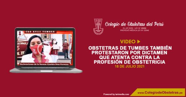 Obstetras de Tumbes también protestaron por dictamen que atenta contra la profesión de obstetricia