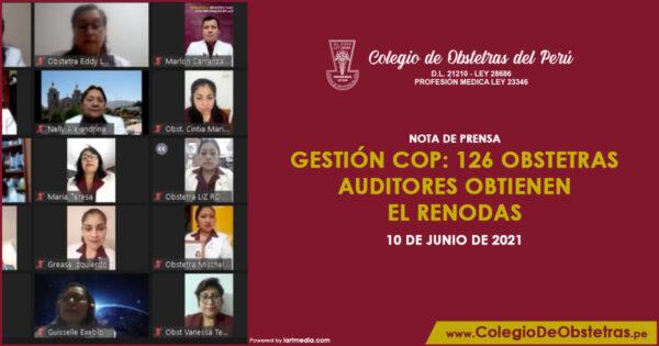 Gestión COP: 126 obstetras auditores obtienen el Renodas