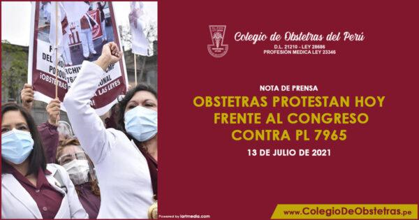 Obstetras protestan hoy frente al Congreso contra PL 7965