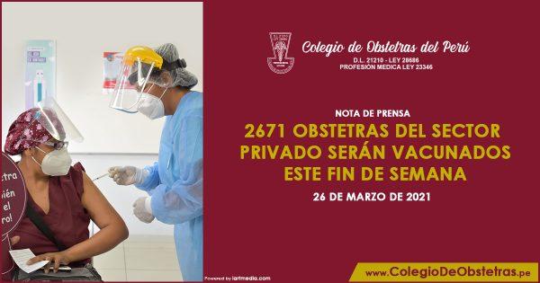 2671 obstetras del sector privado serán vacunados este fin de semana