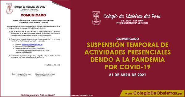 Suspensión temporal de actividades presenciales debido a la pandemia por covid-19