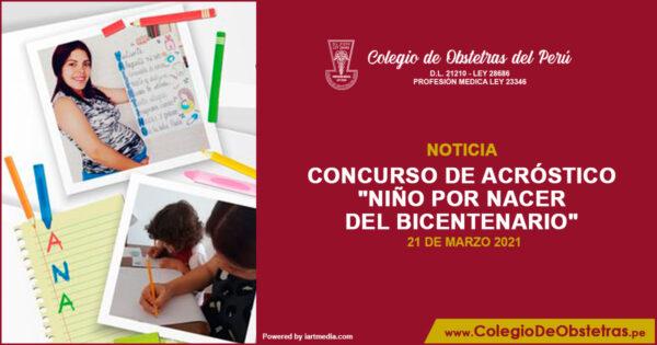 """Concurso de Acróstico """"Niño por Nacer del Bicentenario"""""""