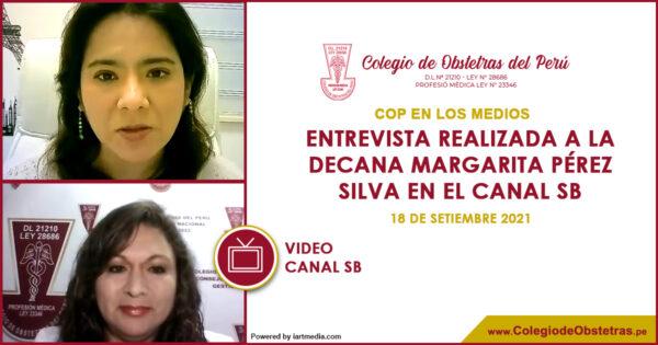 Entrevista realizada a la decana Margarita Pérez Silva en el Canal SB
