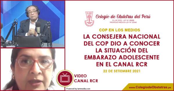 La consejera nacional del COP dio a conocer la situación del embarazo adolescente en el canal RCR