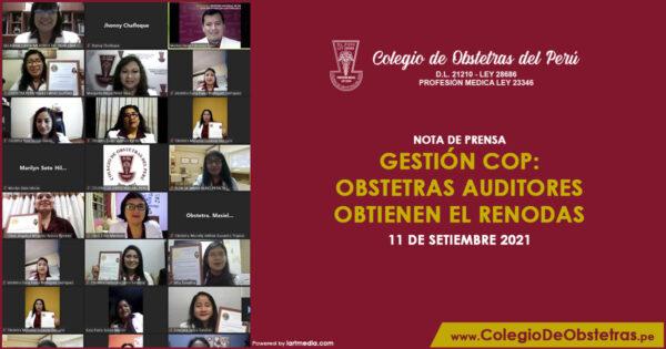 Gestión COP: obstetras auditores obtienen el Renodas