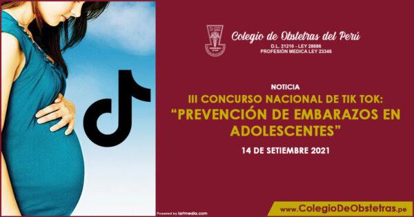 """III CONCURSO NACIONAL DE TIK TOK: """"PREVENCIÓN DE EMBARAZOS EN ADOLESCENTES"""""""