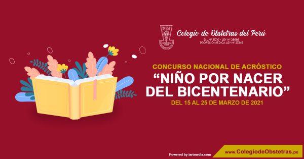 """CONCURSO NACIONAL DE ACRÓSTICO  """"NIÑO POR NACER DEL BICENTENARIO"""""""