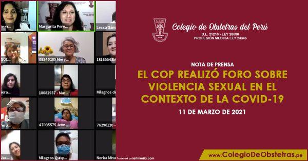 El COP realizó foro sobre violencia sexual en el contexto de la COVID-19