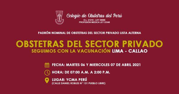 PADRÓN NOMINAL DE OBSTETRAS DEL SECTOR PRIVADO LISTA ALTERNA