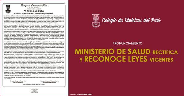 MINISTERIO DE SALUD RECTIFICA Y RECONOCE LEYES VIGENTES