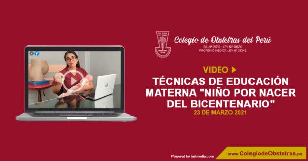 "Concurso de video – Técnicas de educación materna ""Niño por Nacer del Bicentenario"""